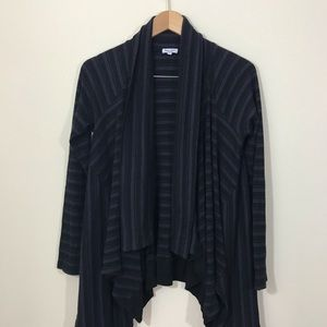 Splendid Striped Thermal Open Wrap Cardigan